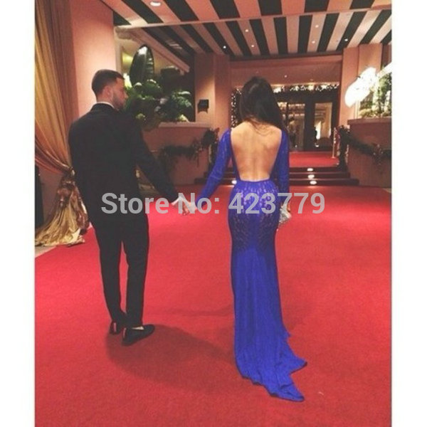 Aliexpress.com : Buy Hot Sale Royal Blue Sheath Celebrity Party Dresses 2014 Long Sleeves Sexy Backless Lace Prom Dresses from Reliable dress romantic suppliers on 27 Dress