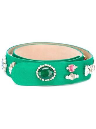 embellished belt green