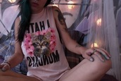 shirt,muscle tee,kittenish,floral tank top