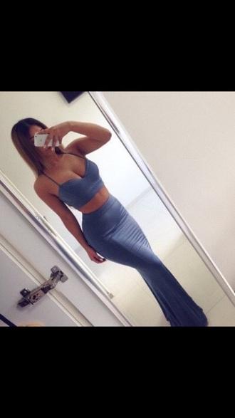 skirt crop tops blue 2 piece skirt set long skirt two piece body con bodycon dress tight