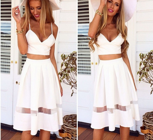 White Midi Skirt Set - Shop for White Midi Skirt Set on Wheretoget