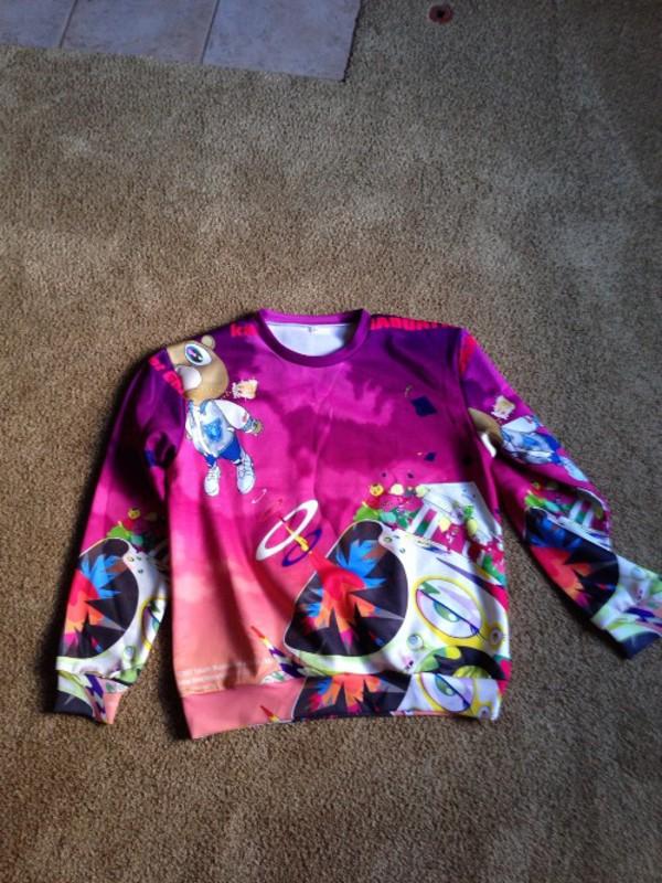 2014 kanye west kanye west kanye west head shirt sweater sweaters cute print food yum purple graduation