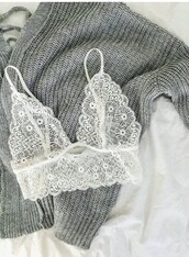 underwear,lace,cute,white,girly,girl,girly wishlist,bra,bralette,lace bralette,lace bra,white bralette,knitted sweater,grey sweater,bra top,see through