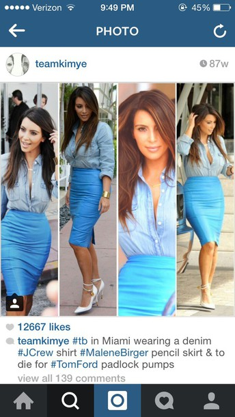 shirt kim kardashian blue skirt denim shirt