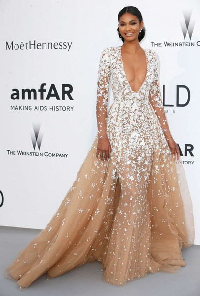 dress, gown, chanel iman, plunge v neck, prom dress, wedding dress, cannes,  red carpet - Wheretoget