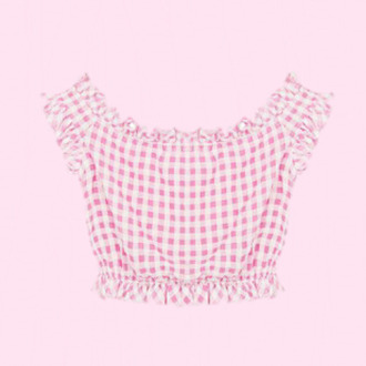 top kawaii gingham girly pastel pink