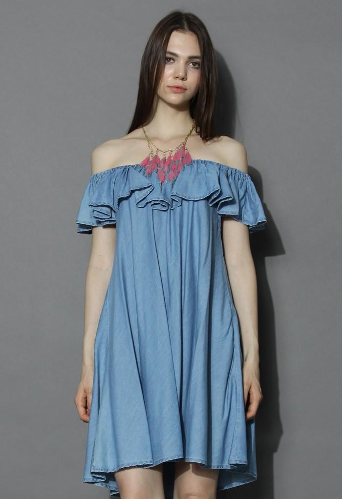 Robe avec Epaules Dénudées en Denim - Retro, Indie and Unique Fashion