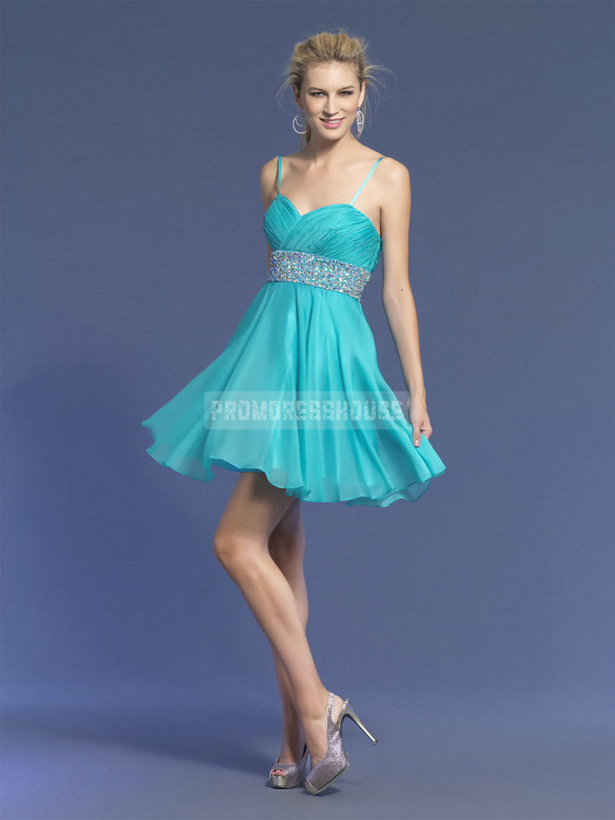 Blue Chiffon Short Length Spaghetti Straps A-line Cocktail Dress - Promdresshouse.com