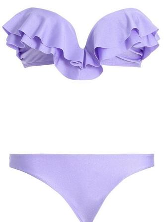 swimwear purple ruffles