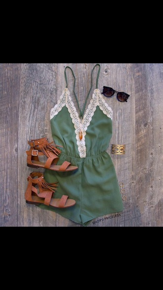 romper shoes jumpsuit emerald green white lace v kneck short green olive green lace sunglasses sandals brown bracelets jewelry tumblr tumblr outfit tumblr girl beautiful cute summer back to school jewels
