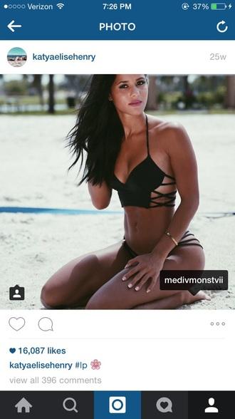 swimwear black bikini strappy bikini katyaelise henry