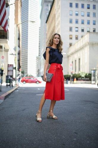 memorandum blogger shoes skirt top jewels bag clutch red skirt midi skirt sandals mid heel sandals summer outfits