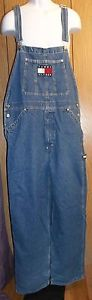 TOMMY HILFIGER Blue Jean Bib Overalls Size L Large EUC Men's Women's Farm