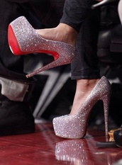 bag,shoes,red bottoms,Daffodile Pumps,sparkly heels,silver shoes