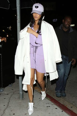 dress shirt shirt dress lavender cap pumps coat rihanna spring spring outfits hat shoes mules chanel girly