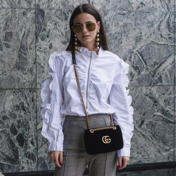 shirt tumblr ruffle shirt ruffle white shirt long sleeves bag velvet gucci  gucci bag black bag 9a5aa6c400a8