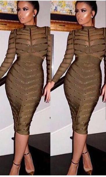 d12beef04b1b dress bandage dress brown long sleeve dress brown dress green green dress  olive green olive green