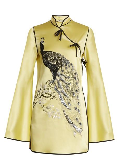 Attico dress mini dress mini embroidered satin yellow