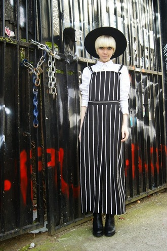 stella's wardrobe blogger jumpsuit overalls black hat stripes optical black and white