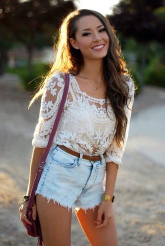 shirt lace shirt white sheer blouse floral ebonylace-streetfashion ebony lace shorts