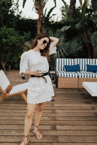 dress tumblr mini dress white dress lace dress belt sandals flat sandals sunglasses shoes