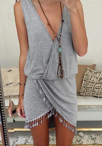 dress gray grey grey dress wrap dress