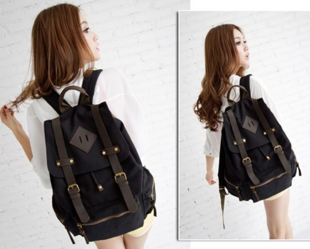 Bag: backpack, womens backpack, canvas, rucksack, black backpack ...