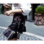 skirt,tumblr,asymmetrical,embroidered,embroidered skirt,ruffle,ruffle skirt,black skirt,black leather skirt,leather skirt