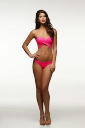 swimwear,bandeau,bikini top,criss cross,halter top,neon,pink,kuna bottom,peixoto