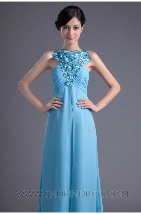 A-line Scoop Knee Length Chiffon Light Sky Blue Prom Dress with Embroidery TSKN026 Sale at Shopindress.com