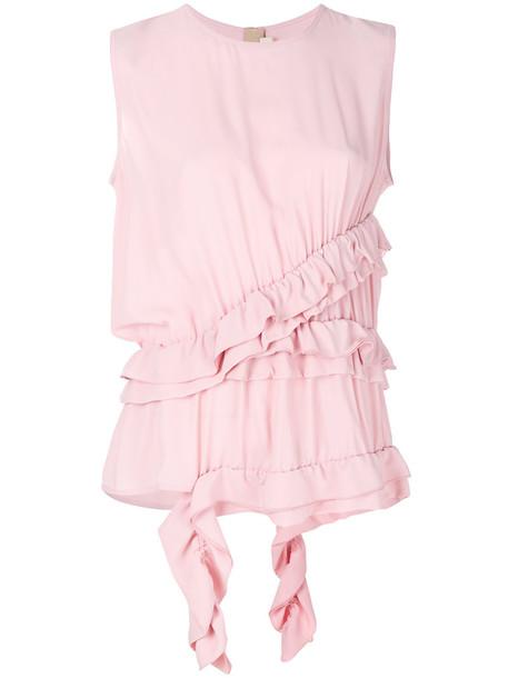 MARNI top asymmetrical top asymmetrical women silk purple pink