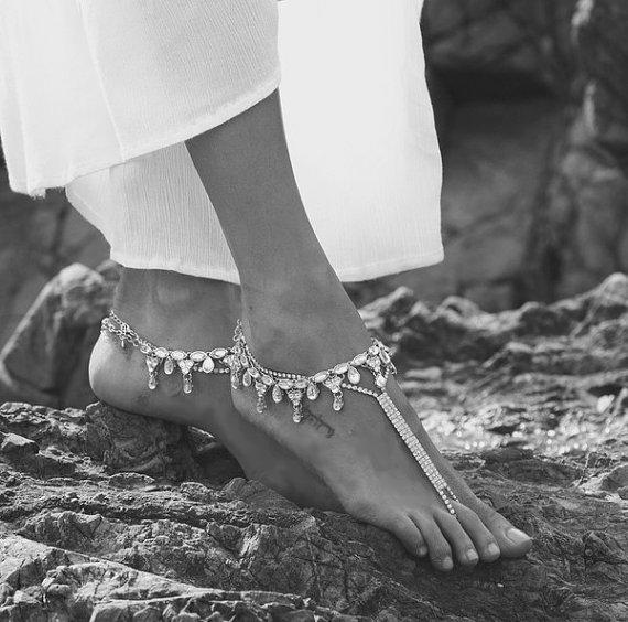 Silver Anklets Barefoot Sandals
