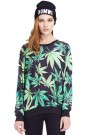 ROMWE | ROMWE Palm Leaves Print Long-sleeved Sweatshirt, The Latest Street Fashion
