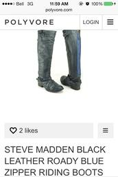 shoes,steve madden,riding boots,black,blue zipper