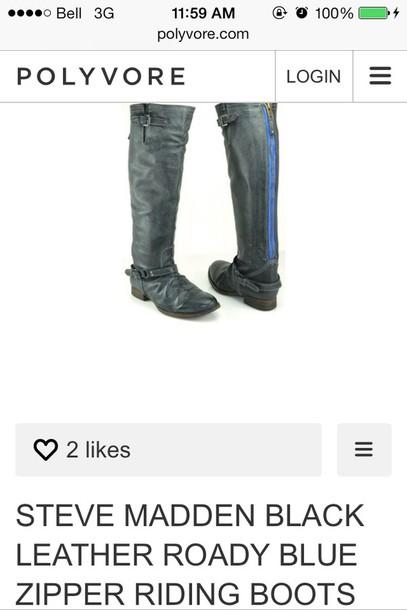 shoes steve madden boots black blue zipper