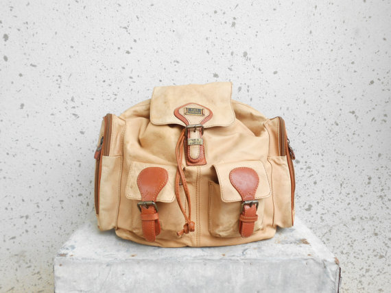 Vintage THE ARTINA White Tan Leather Backpack / by VindicoShop