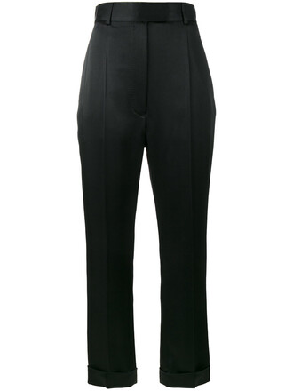high waisted high women cotton black pants