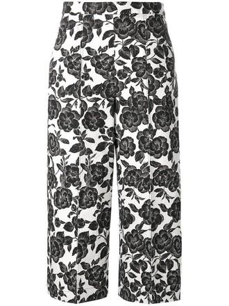 cropped women floral cotton print black pants