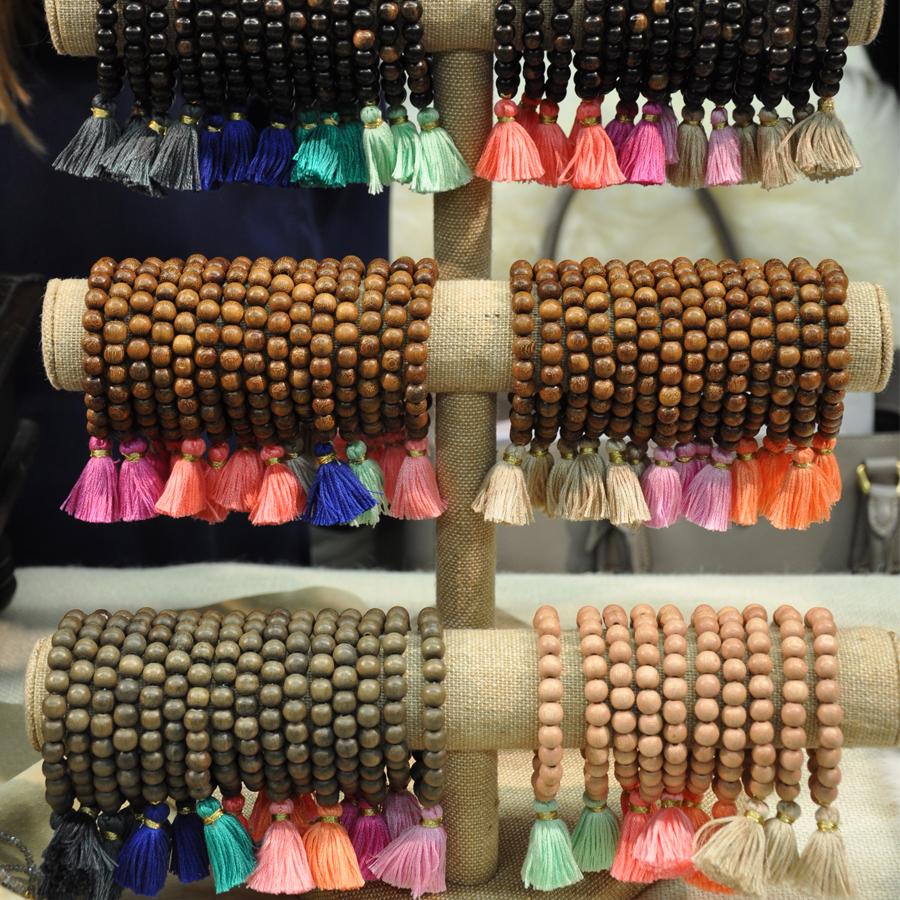 Gray wood tassel bracelet