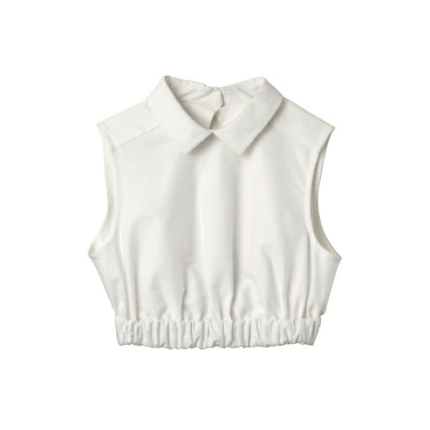 Blouse lana del rey top elastic collar collar top for Cropped white collared shirt