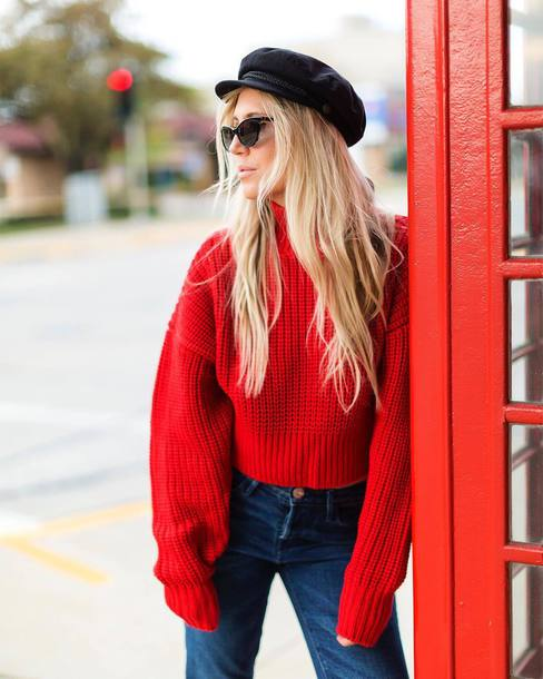 Sweater: tumblr, red sweater, denim, jeans, blue jeans, knit ...