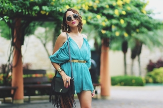 preppy fashionist blogger sunglasses romper belt shoes bag jewels