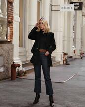 jeans,flare jeans,cropped jeans,ankle boots,high heels boots,belt,blazer,black blazer,black blouse