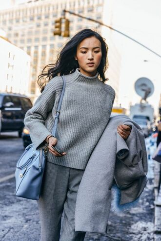 sweater all grey outfit all grey everything grey sweater pants grey pants coat grey coat winter outfits bag blue bag office outfits tumblr