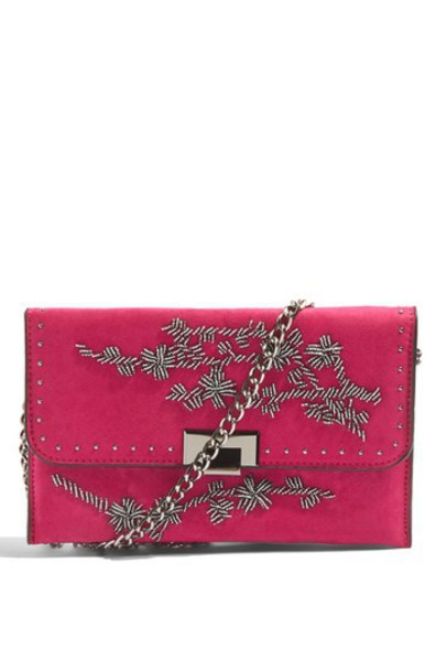 Topshop beaded clutch pink bag