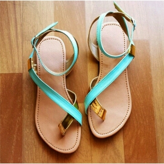 shoes light green gold sandals flats tropical valentines summer ootd cute girly