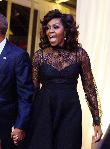 Dress Black Dress Lace Dress Gown Prom Dress Black Lace Dress