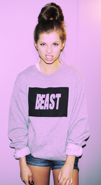 shirt beast crewneck sweatshirt tumblr tumblr outfit unisex comfy grunge soft grunge bun
