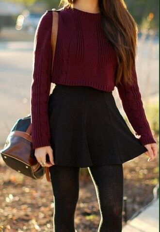 skirt sweater black black skater skirt tights skater skirt cropped seater maroon cropped sweater back to school fall outfits burgundy leather bag bucket bag top burgundy sweater cropped sweater