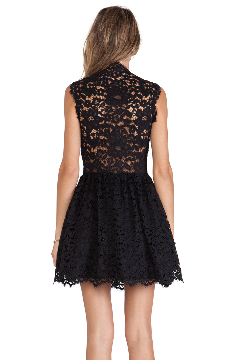 Alexis antilles scalloped detail lace dress in black lace from revolveclothing.com